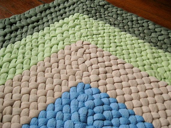 Square Braided Rug In Sage And Mint Green From By Mrsginther 75 00