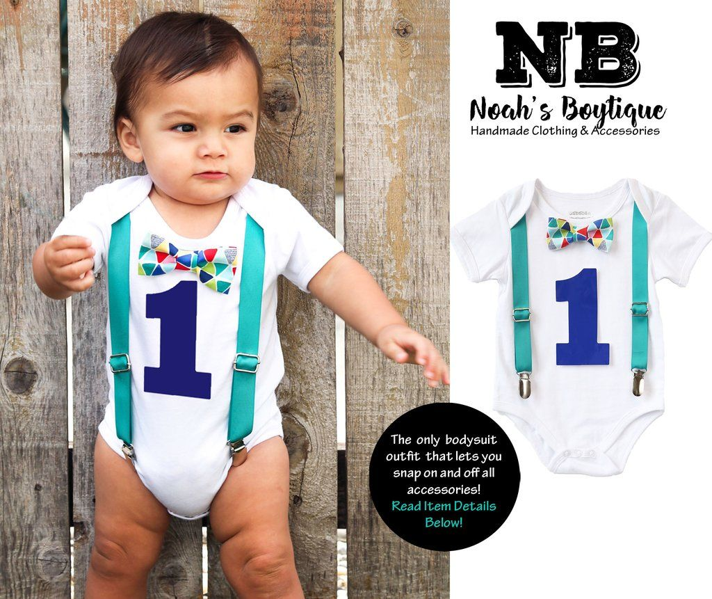 959a6b4ee Teal Blue Red Baby Boy First Birthday Outfit - Birthday Shirt - Cute First  Birthday Outfits for Boys - Bow Tie and Suspenders - I m One -1st - Noah s  ...