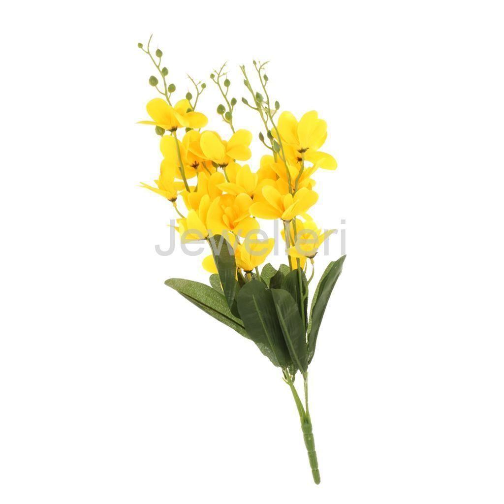 1 Bouquet Artificial Freesia Flower For Home Restaurant Decor Yellow