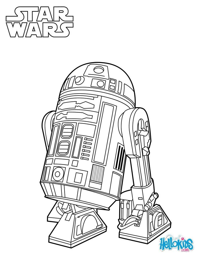 R2 D2 Coloring Page From The New Star Wars Movie The Force Awakens More Star Wars Content On Hellokids Star Wars Coloring Book Star Wars Colors Coloring Pages