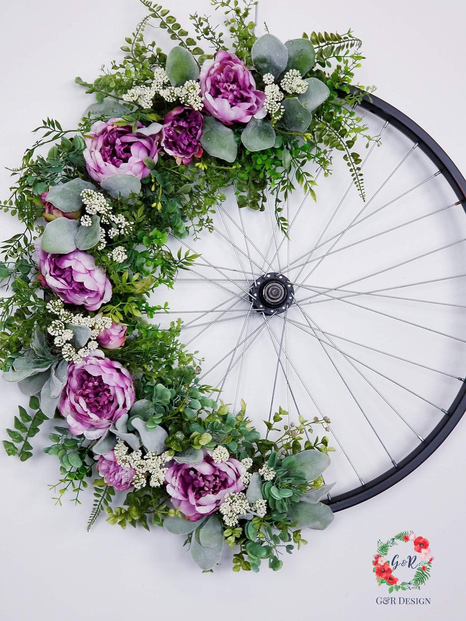 Photo of Bicycle Wheel Wreath Tutorial, Vintage Bicycle Wheel, Bike Rim Tutorial, Upcycled Wheel Wreath,  DIY Bike Wheel,  Bicycle Wheel Supply List