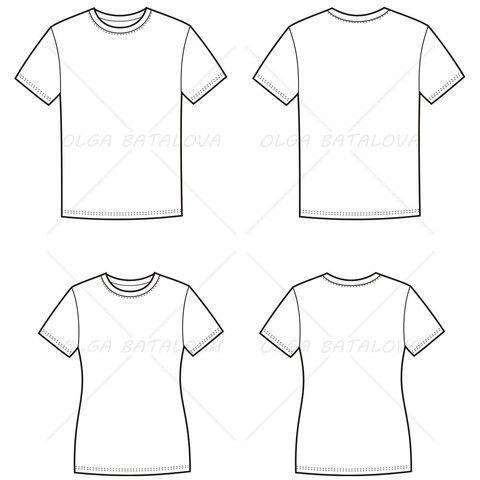 Womenu0027s and Menu0027s T-Shirt Fashion Flat Templates Fashion flats - blank fashion design templates