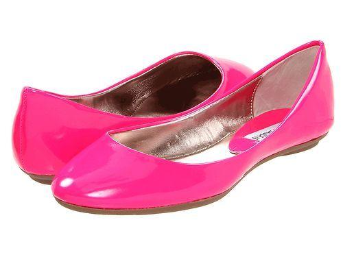 0ba1e20dac0 STEVE MADDEN Heaven PINK Neon Flats Ballet Shoes Womens Patent ...
