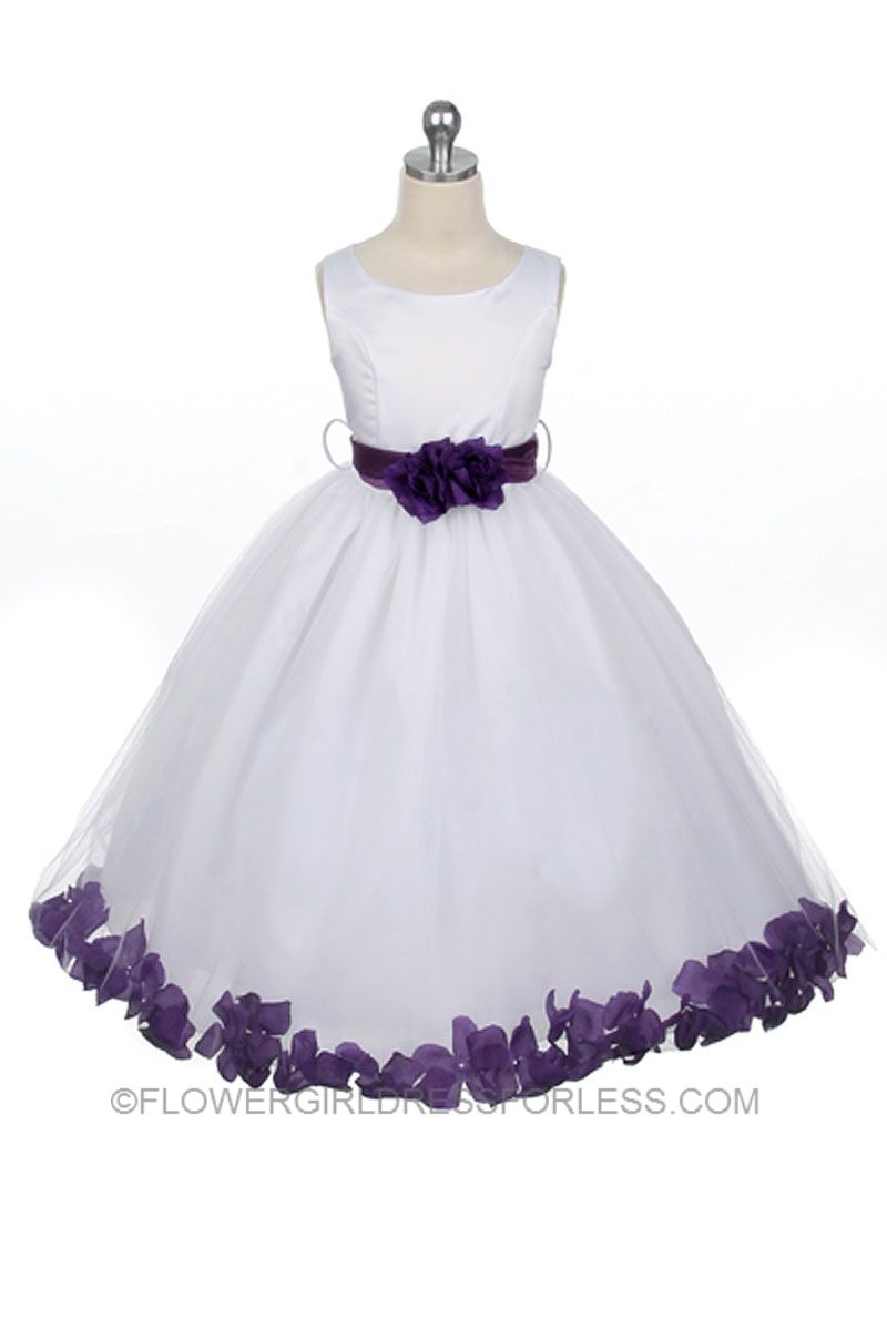 Flower girl dress style 152 choice of white or ivory dress with flower girl dresses lilaclavandar dress flower girl dresses discount cheap designer dressforless white satin and purple rose izmirmasajfo