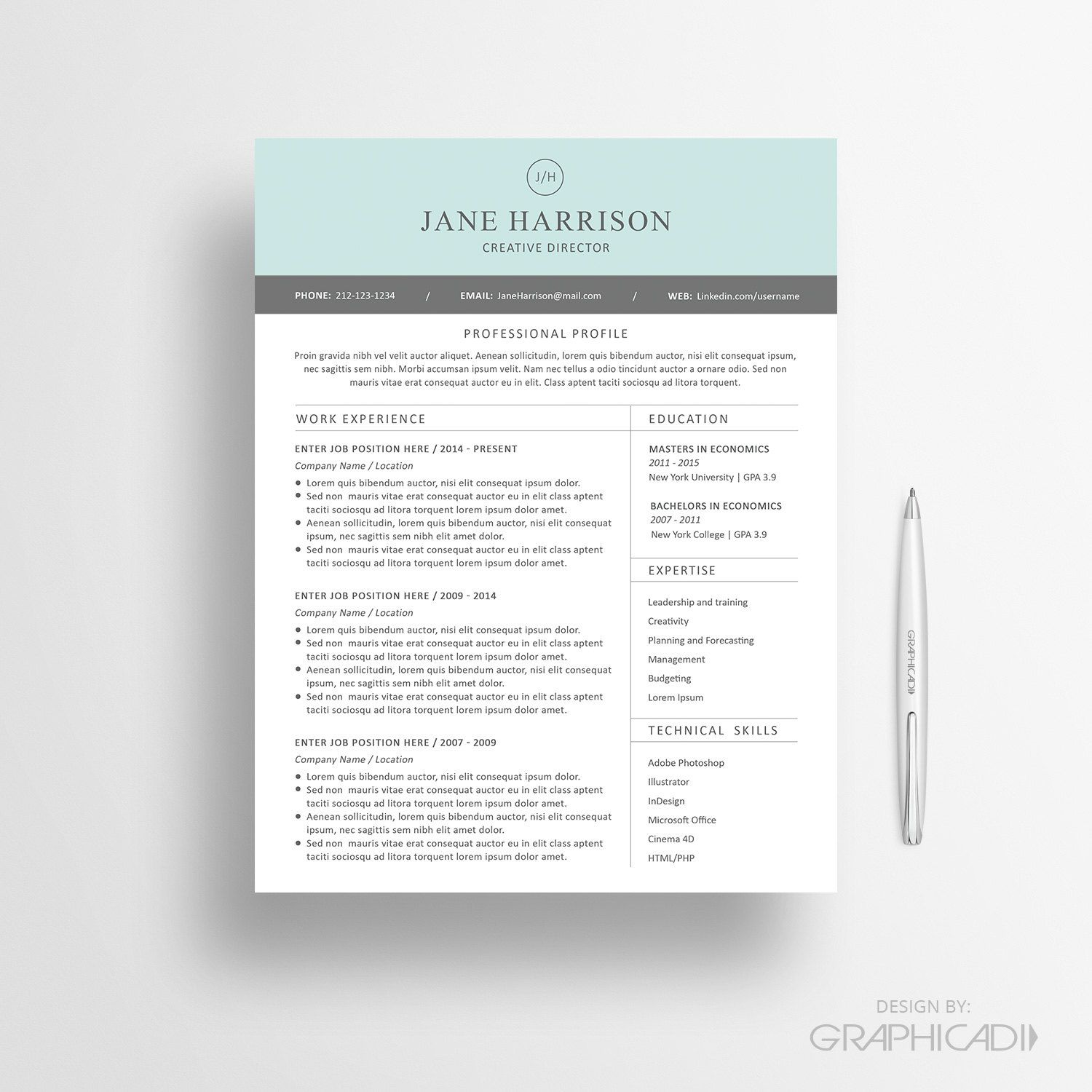 Resume Template - CV Template And Cover Letter For MS Word By Graphicadi