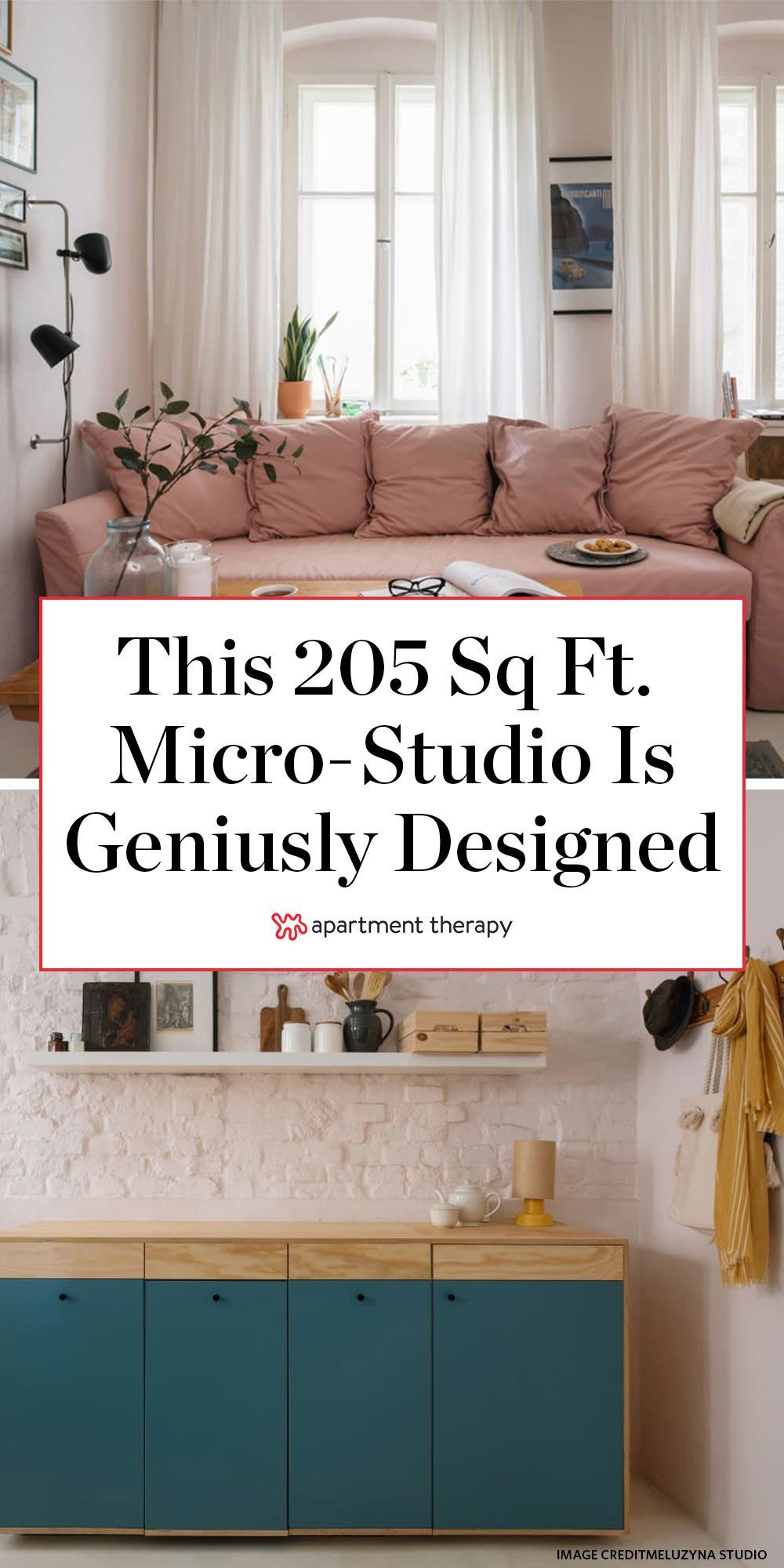 A 205 Square Foot Micro Studio Has An Ingeniously Designed Small Kitchenette In 2020 Small Kitchenette Small Spaces Micro Studio