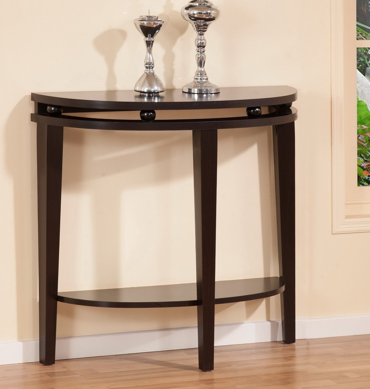 Statuette of Half Moon Entry Table Mirrored console