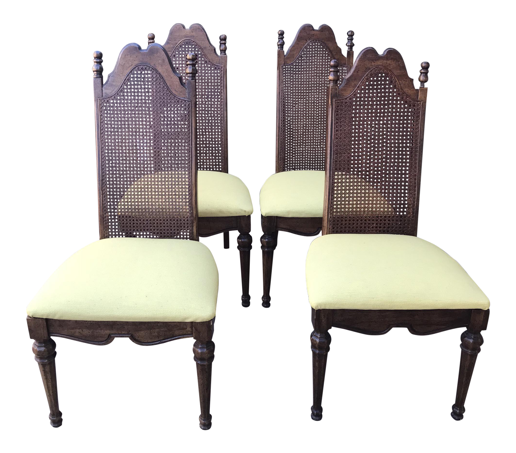 Mid-Century Cane Back & Yellow Upholstered Dining Chairs ...
