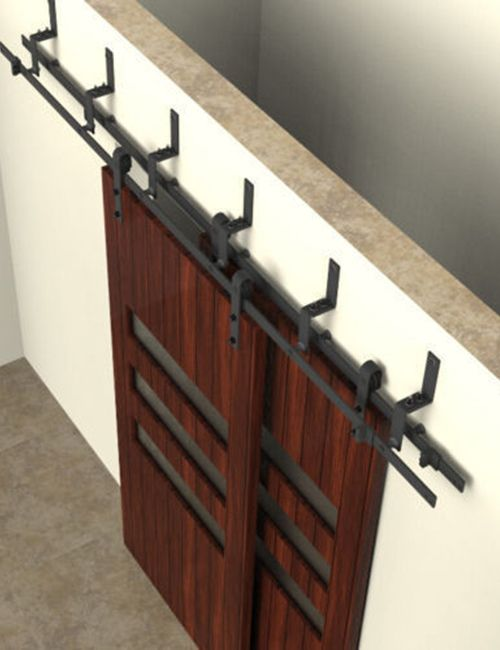 The Double Track Bypass Sliding Barn Door Hardware System Kit Includes 2  Hanger Sets (4