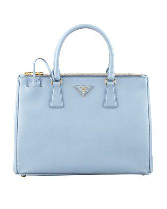eb93e0708df8 Prada Saffiano Small Double-Zip Executive Tote Bag, Blue - Neiman Marcus