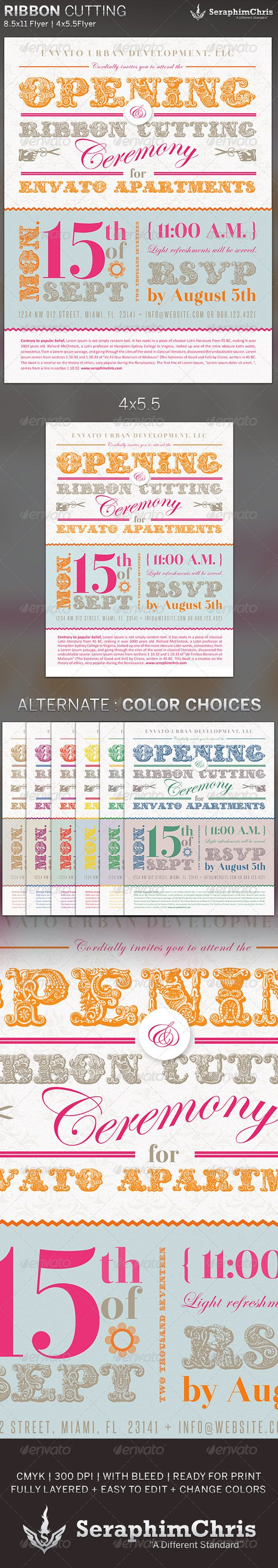 ribbon cutting flyer invite template classy ribbons and festivals ribbon cutting flyer invite template 6 00 this ribbon cutting flyer invite template is customized for special