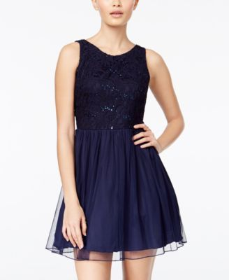 Blue Sequined Party Dresses for Juniors