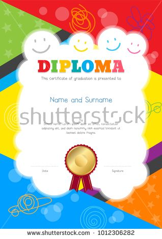 Kids Diploma or certificate template with colorful and hand drawing ...