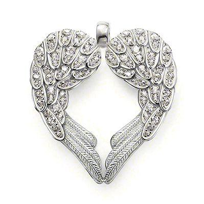 10k White Gold Diamond Feather Angel Wing Diamond Pendant Large