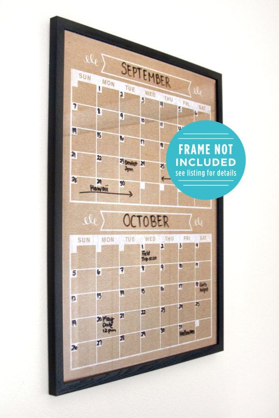 Two Month Calendar Family Planner Wall Perpetural