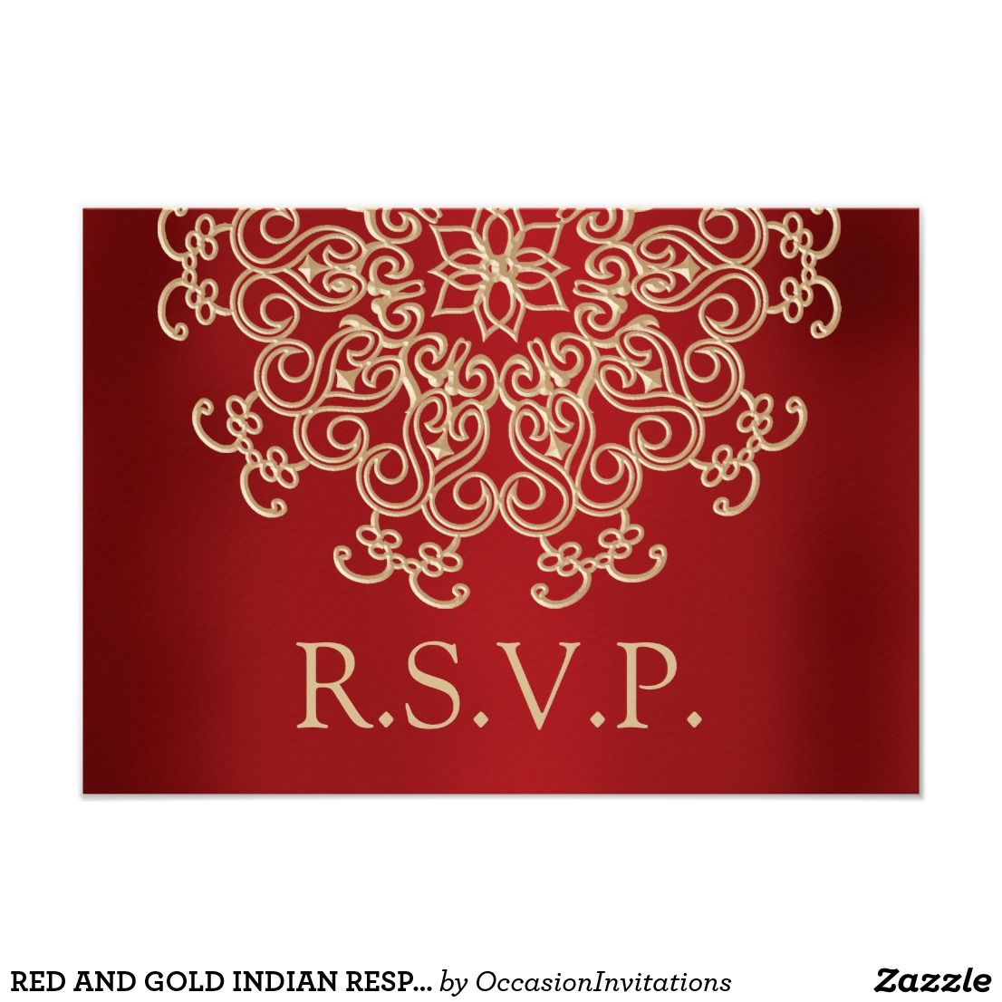 Red and gold indian response rsvp card | Lotus design, Response ...