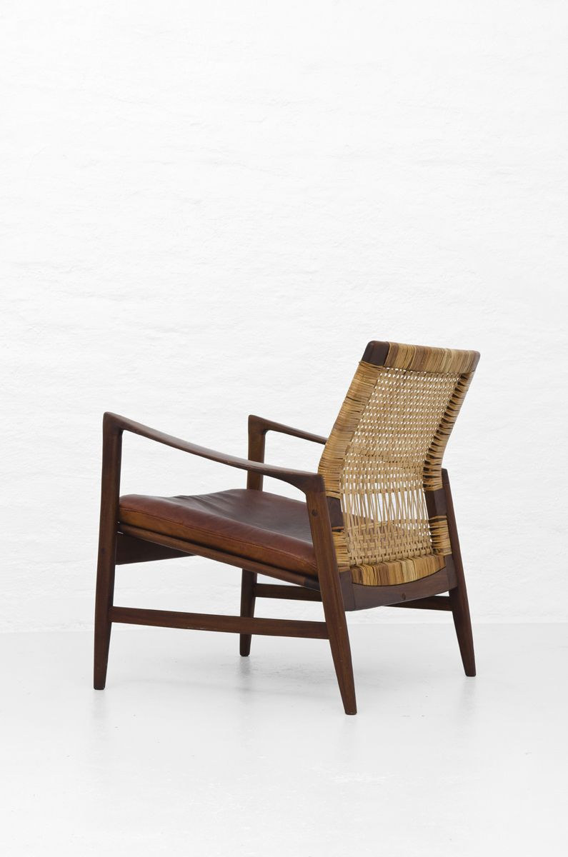 Wondrous Ib Kofod Larsen Teak Cane And Leather Are Easychair For Andrewgaddart Wooden Chair Designs For Living Room Andrewgaddartcom