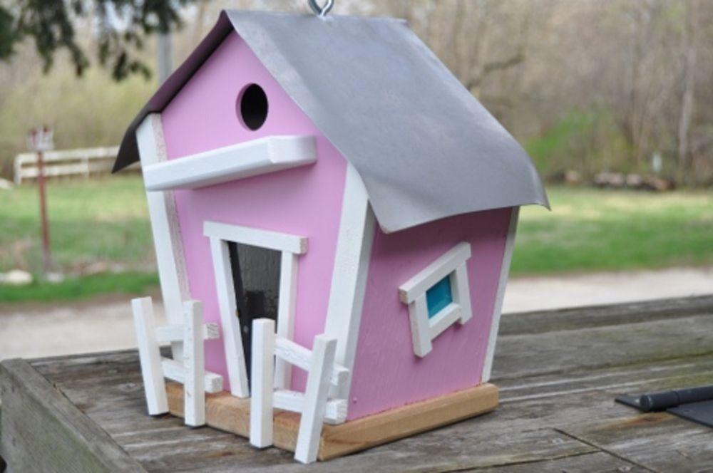 Breast Cancer themed birdhouse, $45.0