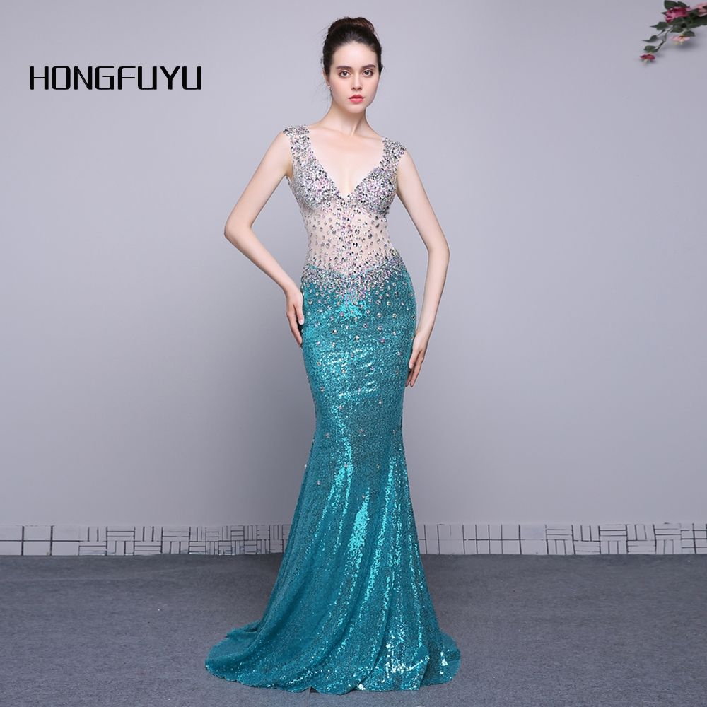 real photo sexy v neck sleeveless sequined mermaid long prom