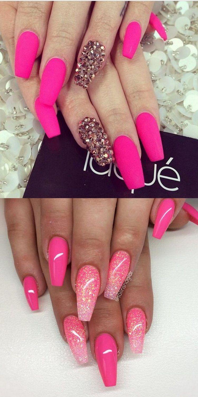 2016 Nail Trends 101 Pink Nail Art Ideas Pink Nails Pink Nail Art Rhinestone Nails
