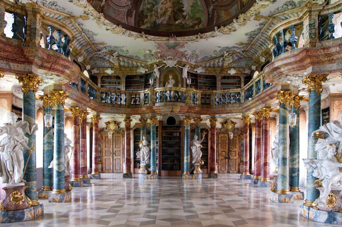 Bibliothekssaal Vom Kloster Wiblingen Ulm In Baden Wurttemberg Deutschland Kloster Bibliothek Barock Architektur