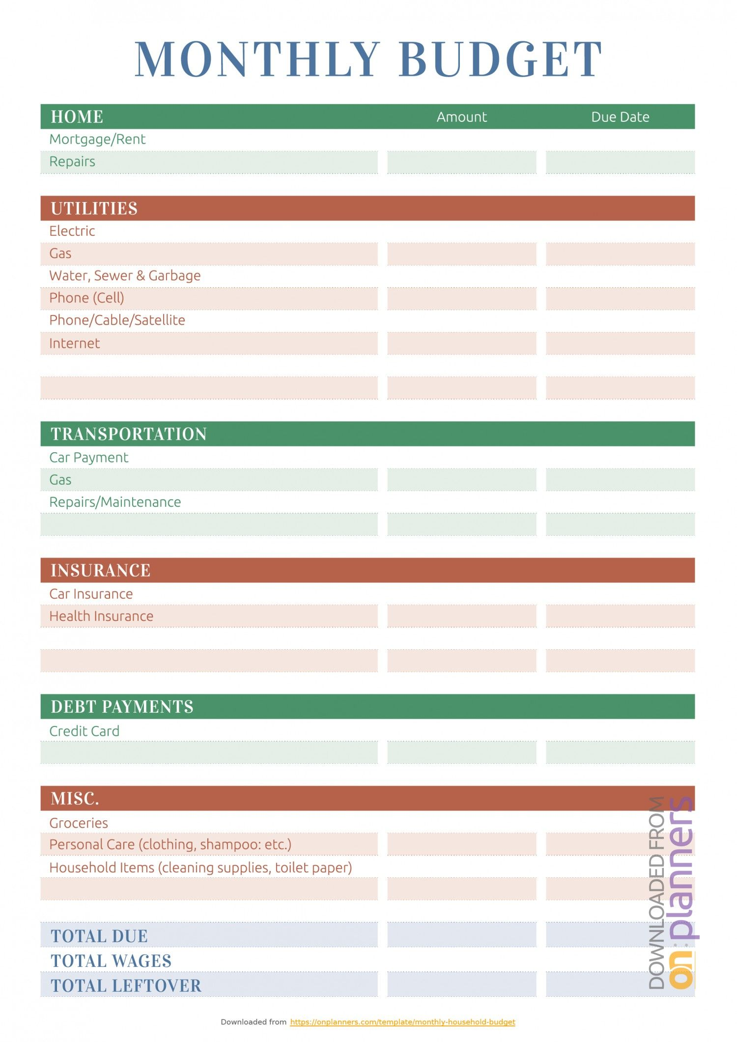 7 Accomplished Monthly Budget Worksheet Monthly