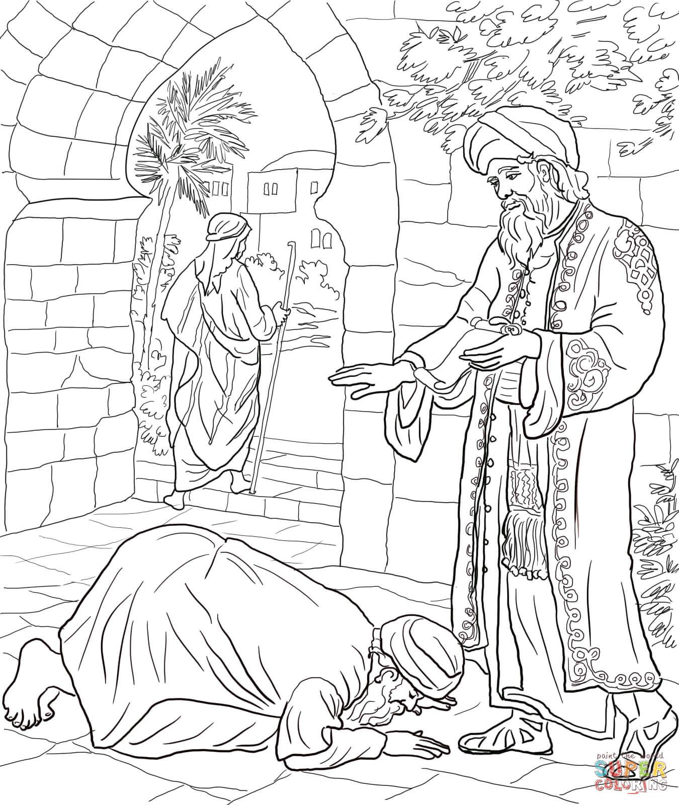 Parable of the Two Debtors coloring page from Jesus