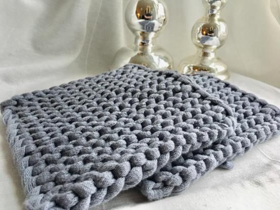 Photo of Topflappen aus Textilgarn stricken