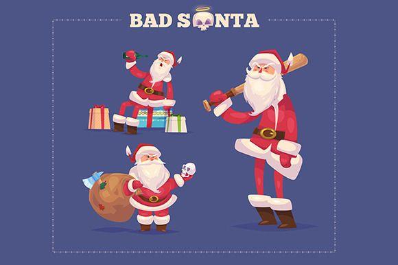 Set Of The Bad Santa Bad Santa Merry Christmas And Happy New Year Happy New