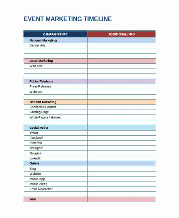 Event Marketing Plan Template Lovely Marketing Timeline