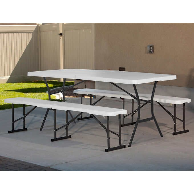 Lifetime 6 Fold In Half Table With 2 Fold In Half Benches Fold In Half Table Half Table Home Bar Furniture