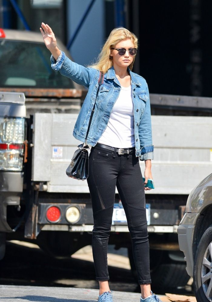 cec51778970f Gigi Hadid Wearing a Denim Jacket