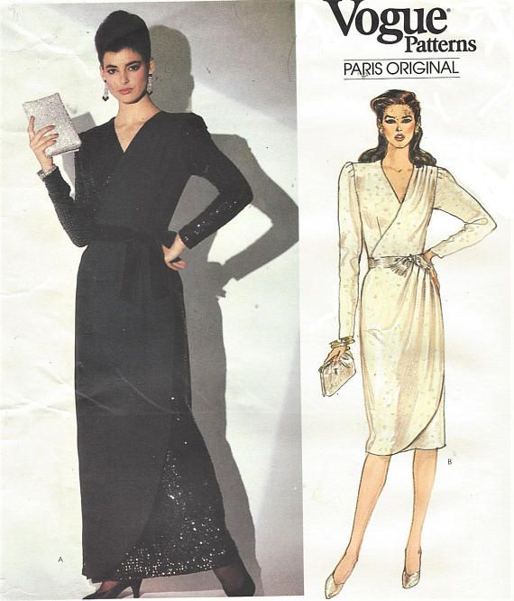 1980s Nina Ricci Womens Cocktail Dress or Evening Gown Mock Wrap ...
