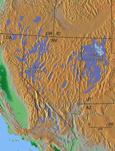 Pleisocene Lakes Of Western US Map  Looks Like Utah Was Mostly - Great salt lake us map