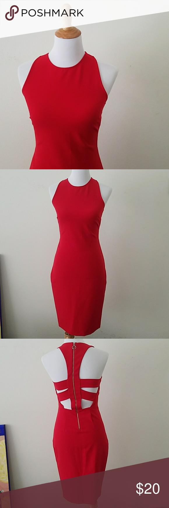 Zara red dress with cutouts