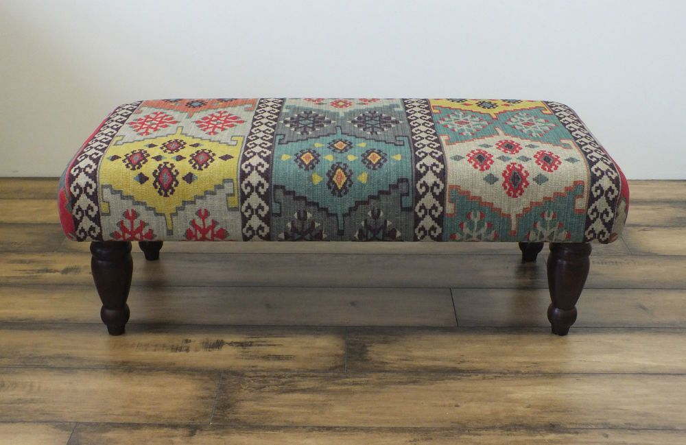 Details About Footstool Bench Stool Covered In Kilim Pattern