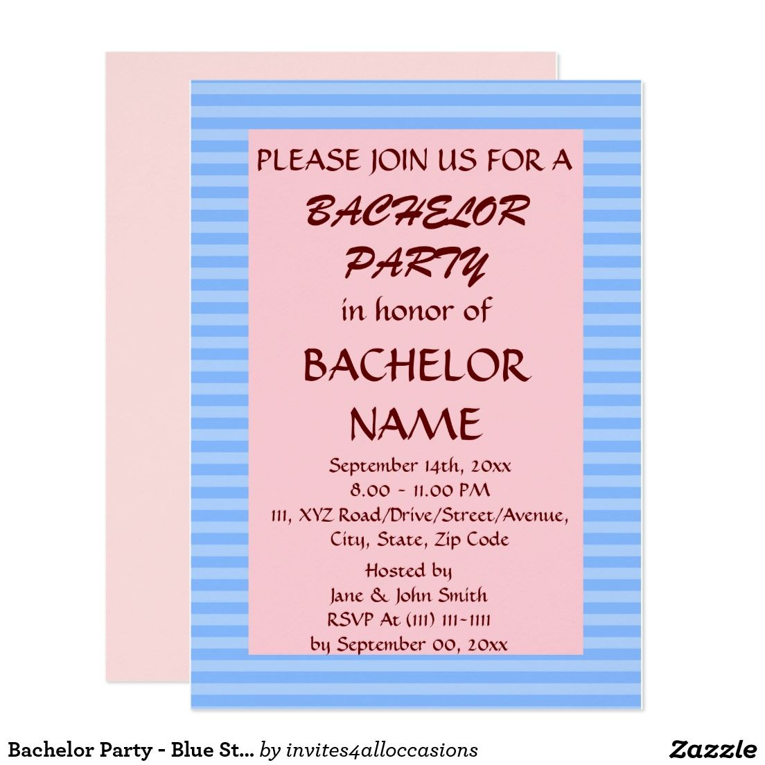 Bachelor party blue stripes pink background card bachelor bachelor party blue stripes pink background card monicamarmolfo Choice Image
