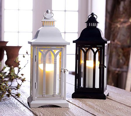 """white wood silver metal roofed 16/"""" tall Candle holder Lantern terrace outdoor"""