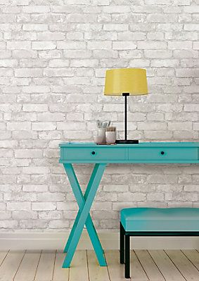 Nuwallpaper Grey And White Brick Peel And Stick Wallpaper The Home Depot Canada Removable Brick Wallpaper White Brick Wallpaper Brick Wallpaper