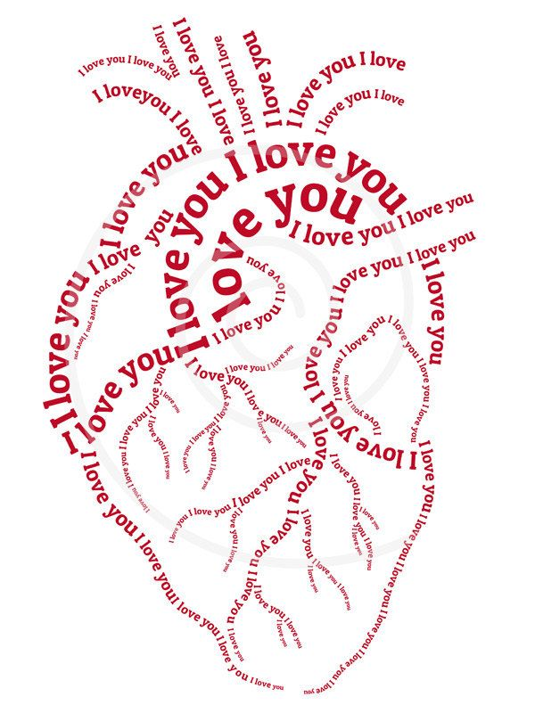 i love you heart, digital art print and printable card, word art,