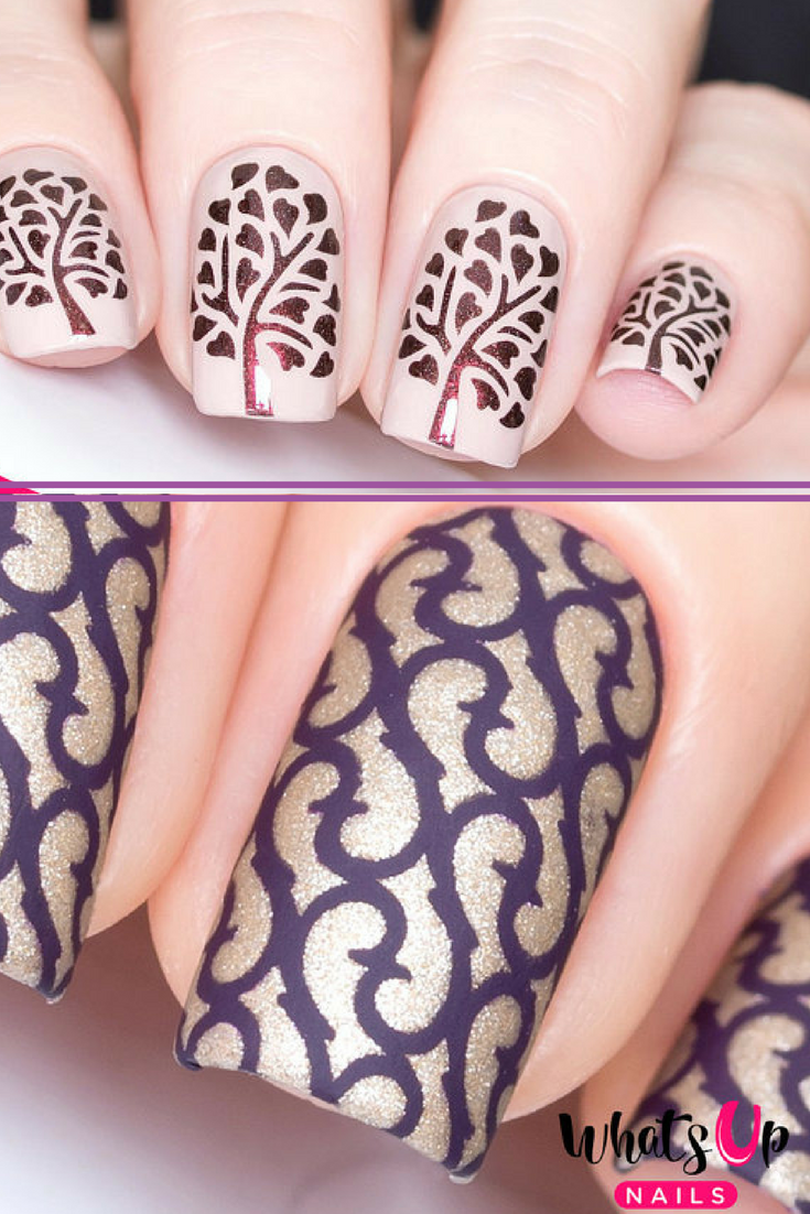 Gorgeous nail art stencils in Thorns and Tree of Life. Quick and ea ...