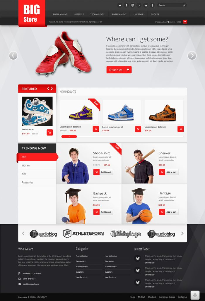 Big Store Free Ecommerce PSD Website Template Books Worth Reading - Free ecommerce website templates shopping cart