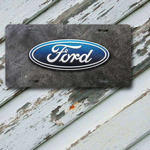 License Plate Ford On Scratched Metal On 6 X 12 Aluminum License