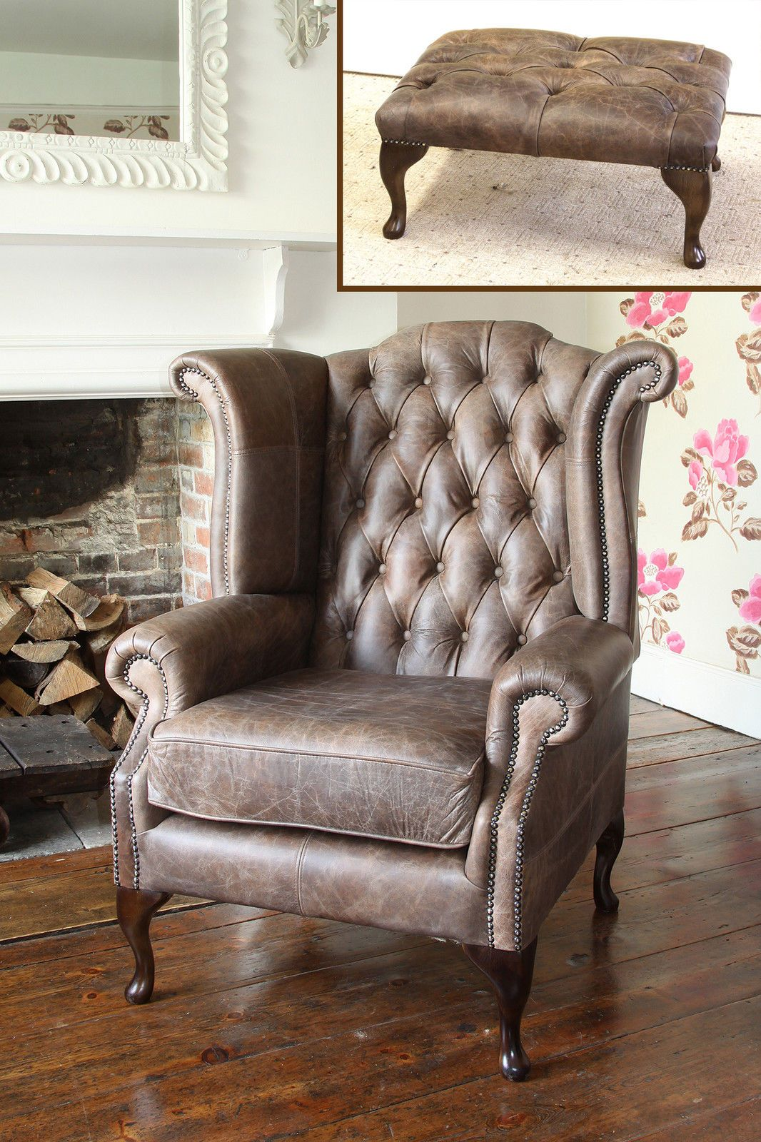Chesterfield Queen Anne Wing Chair Matching Footstool In Vintage Brown Leather