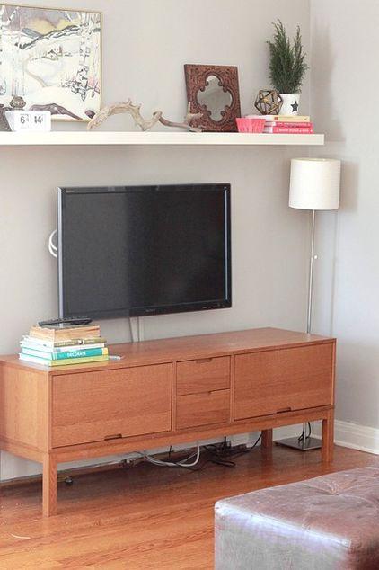 Shelf Above Tv Books Art Frames Driftwood Living Room Decor