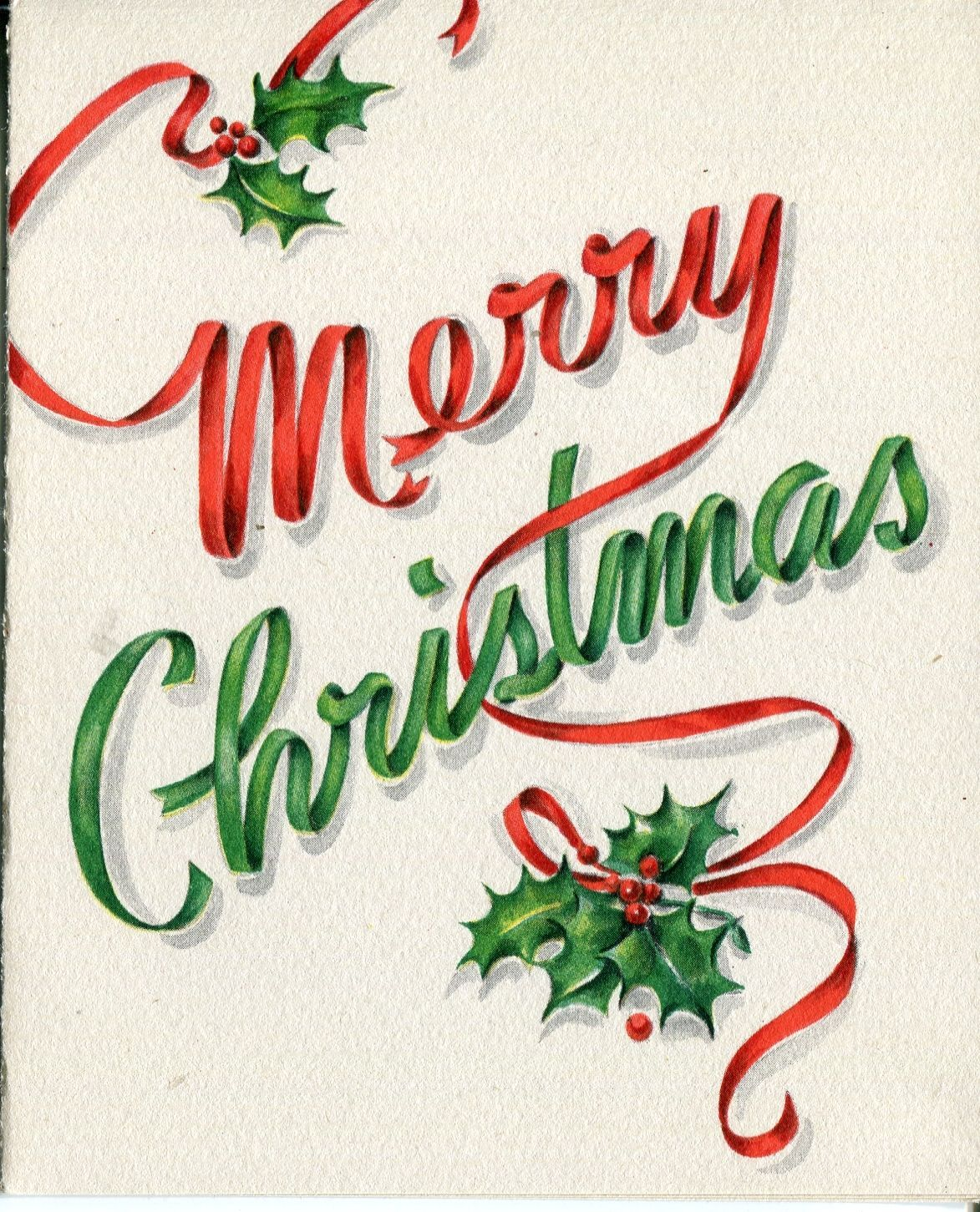 Vintage Hallmark Christmas Card: MERRY CHRISTMAS with Ribbon ...