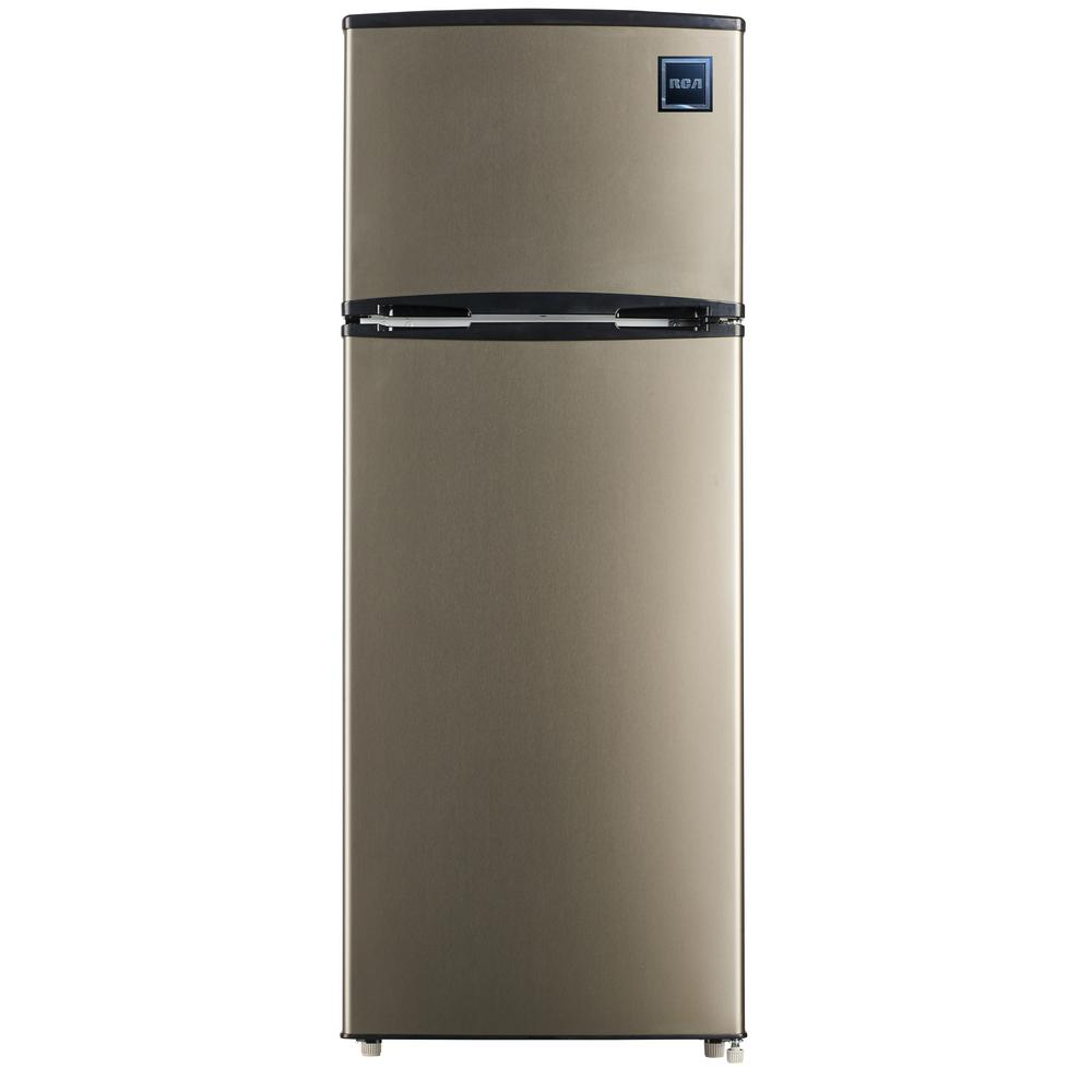 Rca 7 5 Cu Ft Mini Fridge With Stainless Look In 2020 Mini Fridge Top Freezer Refrigerator Refrigerator