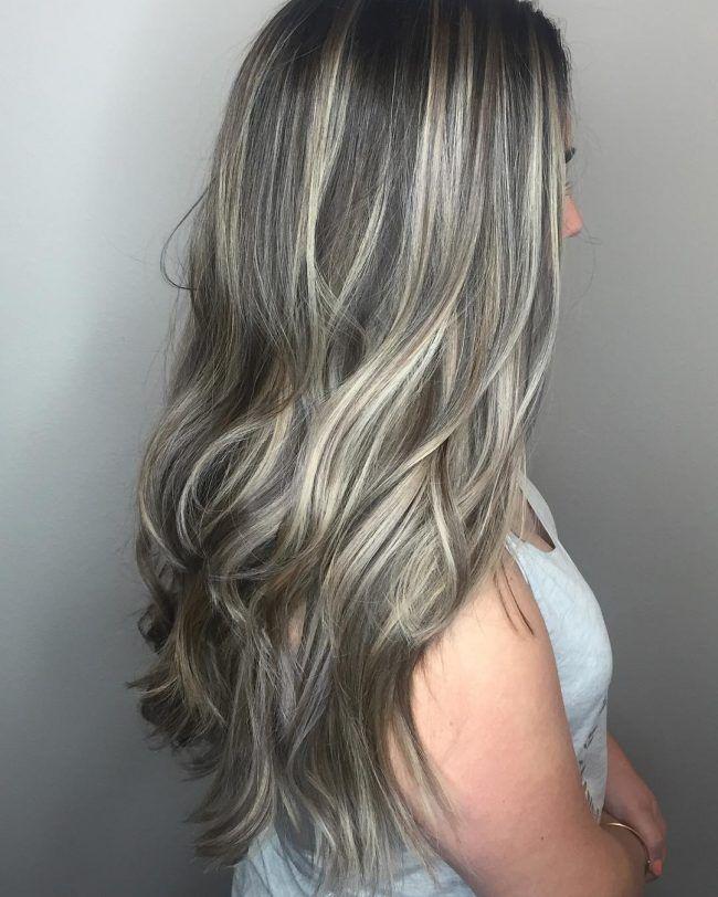 Ash Gray Streaks Hair Balayage Hair Hair Color Balayage