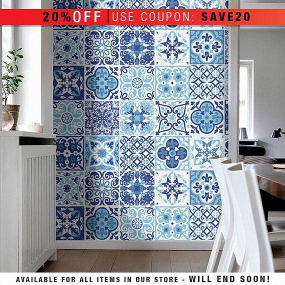 Portuguese Blue - Tile Stickers - Tile Decals - Kitchen Backsplash ...