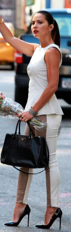 ... australia olivia munn wearing prada saffiano double zip executive tote  bag in black dl1961 reese quilted 498412f5300d8